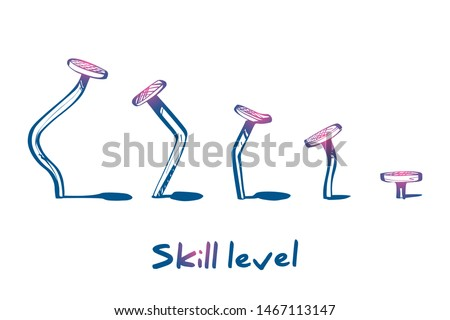 Skill level concept. Training skill. From beginner to skilled expert.Symbol of successful training and persistence.Vector illustration sketch design.