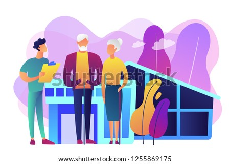 Skilled nurse and elderly people getting around-the-clock nursing care. Nursing home, nursing residential care, physical therapy service concept. Bright vibrant violet vector isolated illustration