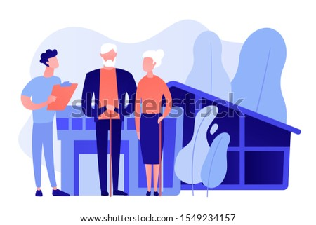 Skilled nurse and elderly people getting around-the-clock nursing care. Nursing home, nursing residential care, physical therapy service concept. Pinkish coral bluevector vector isolated illustration