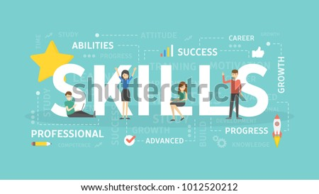 Skills concept illustration. Idea of self development.