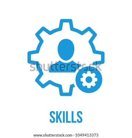 Skills icon with settings sign. Skills icon and customize, setup, manage, process symbol. Vector icon
