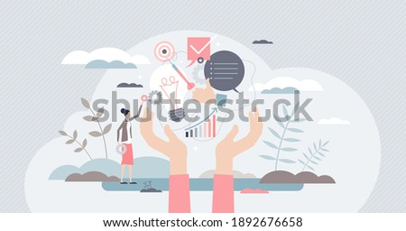 Skills set as ability and competence to work performance tiny person concept. Personality intelligence and education level with job experience and qualities training knowledge vector illustration.