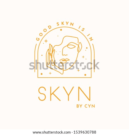 Skin and beauty logo, mystic logo, whimsical vector logo for boutiques, bath and body product