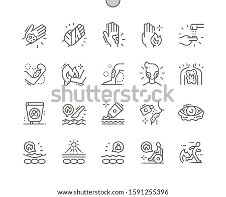 Skin Burns Well-crafted Pixel Perfect Vector Thin Line Icons 30 2x Grid for Web Graphics and Apps. Simple Minimal Pictogram Foto d'archivio ©