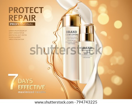 Skin care ads, combination of oil and cream in 3d illustration, cosmetic bottles isolated on glitter bokeh background