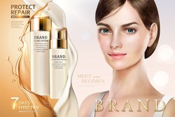 Skin care ads, pretty model in short hair with cream and oil care products in 3d illustration, design for ad or magazine