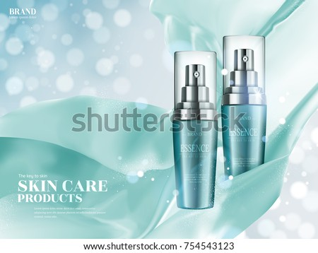 Skin care ads, turquoise spray bottle with floating satin elements isolated on bokeh glittering background in 3d illustration #754543123