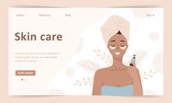 Skin care concept. Landing page template. Woman do cosmetic spa procedures for face. Morning routine. Bath time. Eye patches and cream. Organic products. Vector illustration in flat cartoon style.