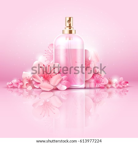stock-vector-skin-care-cosmetic-vector-concept-cosmetic-with-vitamin-and-collagen-in-bottle-and-sakura-flowers