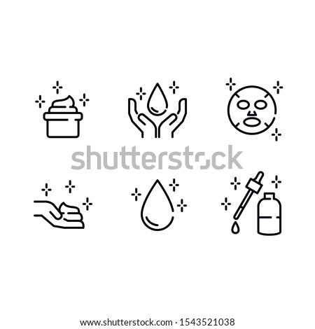 Skin Care. Drop. Cream. Moisturizer. Sheet Mask. Hands - Vector Icon Set