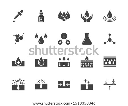 Skin care flat glyph icons set. Hyaluronic acid drop, serum, anti ageing compound retinol, pore tighten vector illustrations. Signs cosmetic product label. Silhouette pictogram pixel perfect.