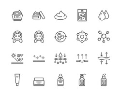 Skin care flat line icons set. Moisturizing cream, anti age lifting face mask, spf whitening gel vector illustrations. Outline signs for cosmetic product package. Pixel perfect Editable Strokes.