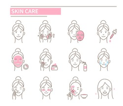 Skin care procedures. Line style vector illustration isolated on white background.