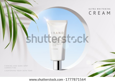 Skin care product ad, minimal scene of circular hole on white concrete wall with palm leaves, 3d illustration