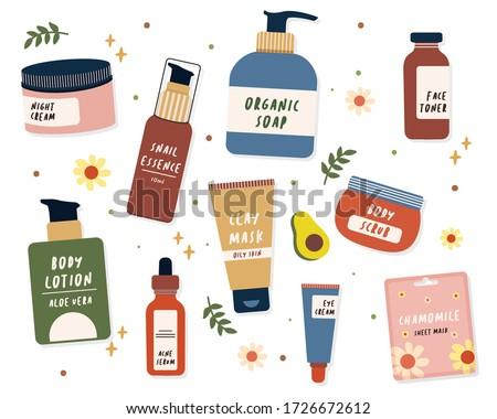 skin care product illustration of night or day cream, aloe vera body lotion, sheet mask, face toner, organic liquid soap, ampule serum, eye cream, clay mask for oily skin, snail serum, and body scrub