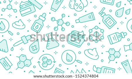 Skin care seamless pattern with line icons. Hyaluronic acid drop, serum, anti ageing compound retinol, moisturizing cream tube package, cosmetology treatment. Beauty background dermatology brochure.