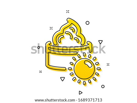 Skin care sign. Sun face cream icon. Cosmetic lotion symbol. Yellow circles pattern. Classic sun cream icon. Geometric elements. Vector