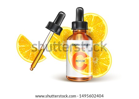 Skin care vitamin C packaging with lemon slice of pieces isolated on white background. Season sweet of tropical fruits. Realistic vector 3D illustration.
