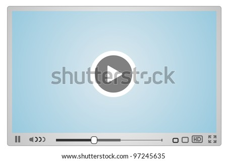 Skin for Web Video Player, minimalistic design - stock vector