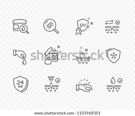 Skin line icon set isolated on background. Care, collagen, dry skin, cream search sale signs. Vitamin E, olive oil, serum drop elements. Vector outline stroke symbols for medical cosmetic design.