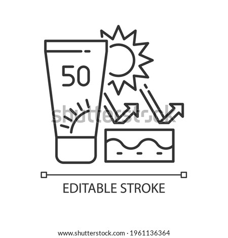 Skin protection linear icon. Sunscreen with SPF. Prevent sun burning. Safe tanning. Thin line customizable illustration. Contour symbol. Vector isolated outline drawing. Editable stroke