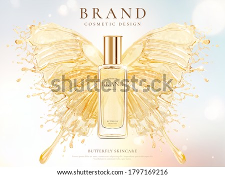 Skincare cosmetic bottle over water splash butterfly design element in 3d illustration