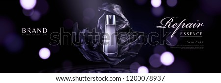 Skincare product banner ads with purple chiffon elements on bokeh glittering background in 3d illustration