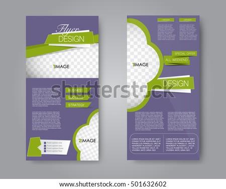 Skinny flyer or leaflet design. Set of two side brochure template or banner. Purple and green color. Vector illustration. #501632602