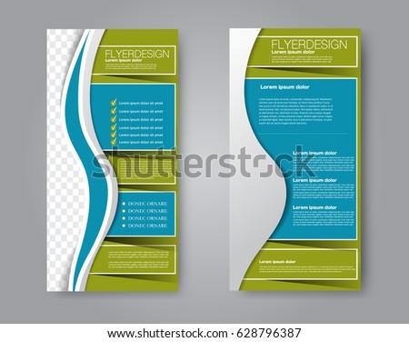 Skinny flyer or leaflet design. Set of two side brochure template or banner.  Vector illustration. Blue and green color #628796387