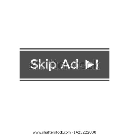 Skip Ad button advertisiment isolated icon vector