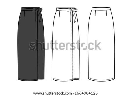 skirt fashion flat sketch