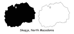 Skopje, North Macedonia. Detailed Country Map with Location Pin on Capital City. Black silhouette and outline maps isolated on white background. EPS Vector