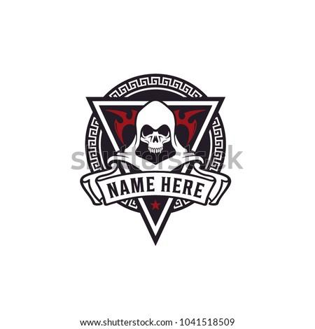 skull   ancient monk emblem