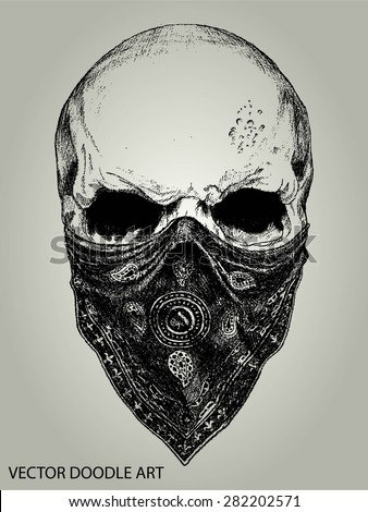 skull and bandana doodle vector