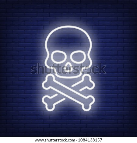 Skull and bones neon sign. Terrified skull and crossed bones. Night bright advertisement. Vector illustration in neon style for Halloween and bikers style