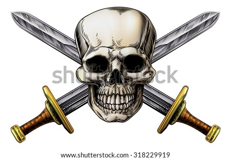 skull and cross swords pirate