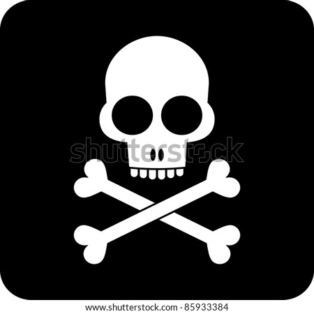 Skull and crossbones - black and white isolated vector icon.