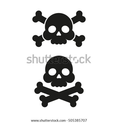 skull and crossbones flat icon