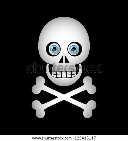 Skull and crossbones icon isolated on black background