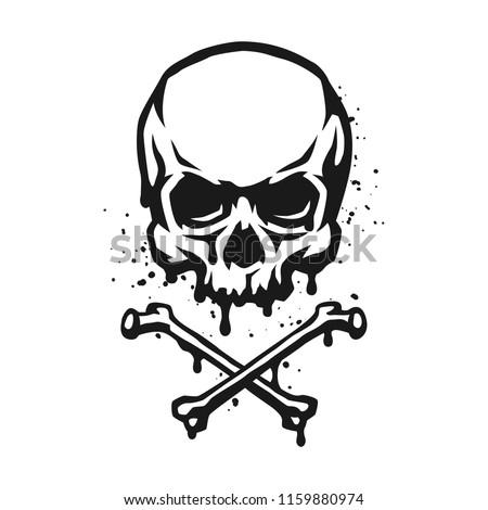 skull and crossbones in grunge