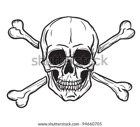 Skull and Crossbones isolated over white background. Vector eps8. Freehand drawing - stock vector