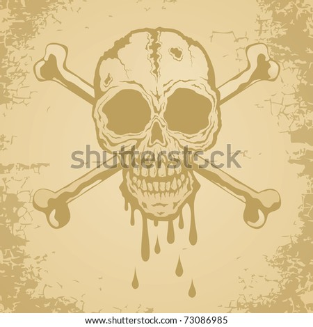 Skull and crossbones painted on old paper