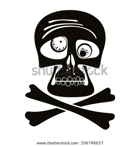 Skull and crossbones, vector illustration.