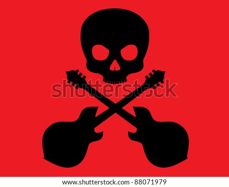 Skull and Crossbones with guitars on Red Background