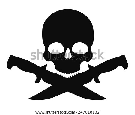 Skull and 2 crossed knifes black emblem. Vector clip art illustration isolated on white