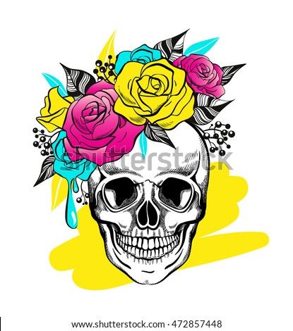 skull and flowers  colorful