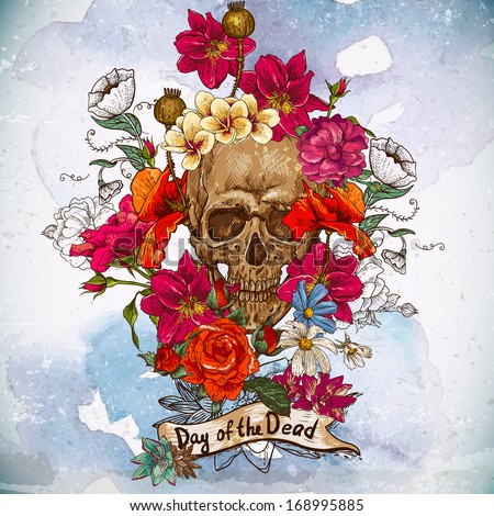 skull and flowers day of the