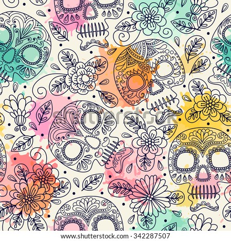 skull and flowers seamless
