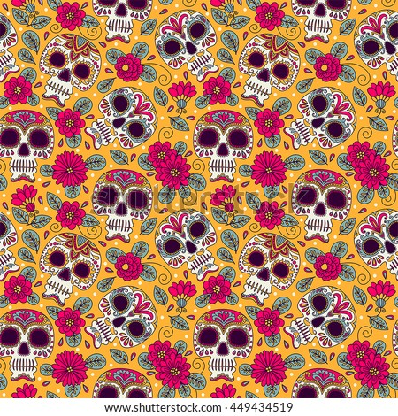 Seamless Background Mexican Day Of The Dead Freehand Drawing