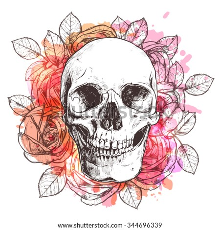skull and flowers sketch with